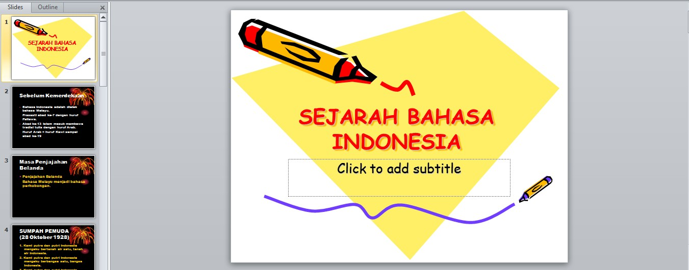 Bhs.Indonesia – Sejarah Bahasa Indonesia Power Point